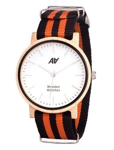Часы AA Wooden Watches Casual Nato Orange-Black